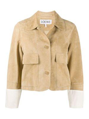 Beige Suede Buttoned Jacket