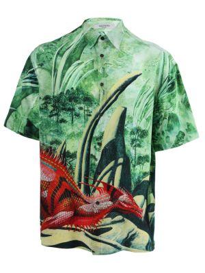 Green Dragon Print Shirt