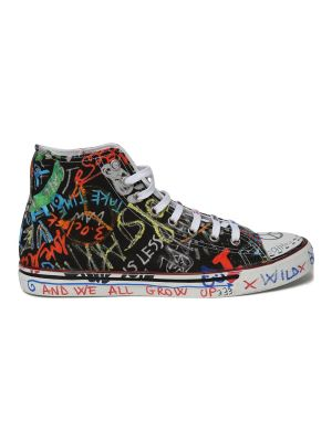 Black And Multicolor Graffiti High Top Sneakers