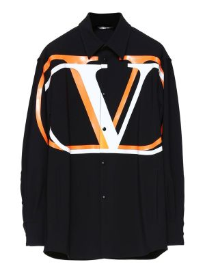 Black And Orange Oversized Logo Shirt