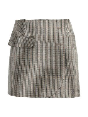 Brown Wool Mini Skirt