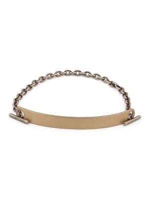 Yellow Gold 7mm Fine Scale Id Bar Bracelet