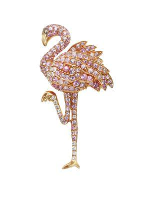 Sapphire & Diamond Flamingo Earring