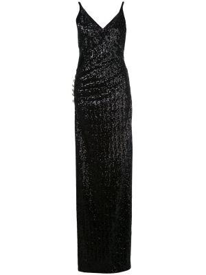 Sequined Side Slit Gown Black