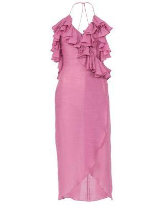 Plunge Neck Ruffle Wrap Dress