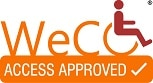 "WeCo's trademark Access Approved logo which says, ""Access Approved"" below the name WeCo."