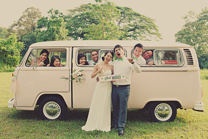 www.theweddingnotebook.com. Photography by One Eye Click. Vintage wedding car