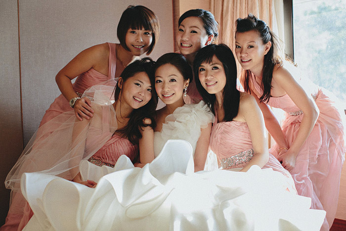 www.theweddingnotebook.com.Photography by History Studio. Pink bridesmaids