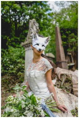 Bride in white fox mask