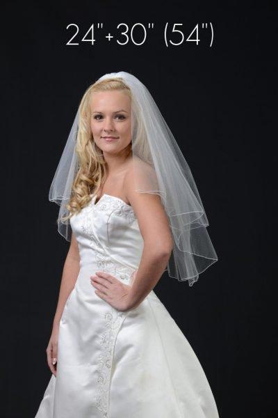 2 layer waist length veil