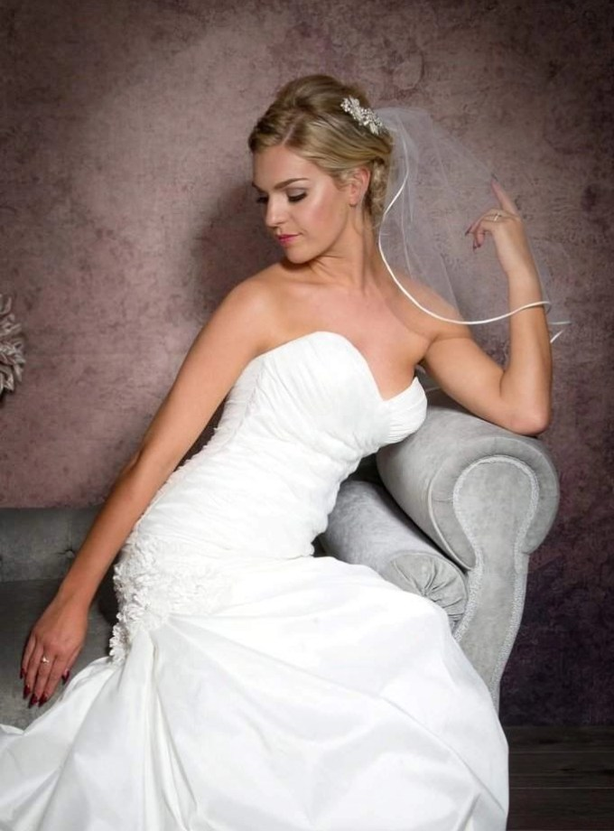one layer shoulder length veil with ribbon trim closeup