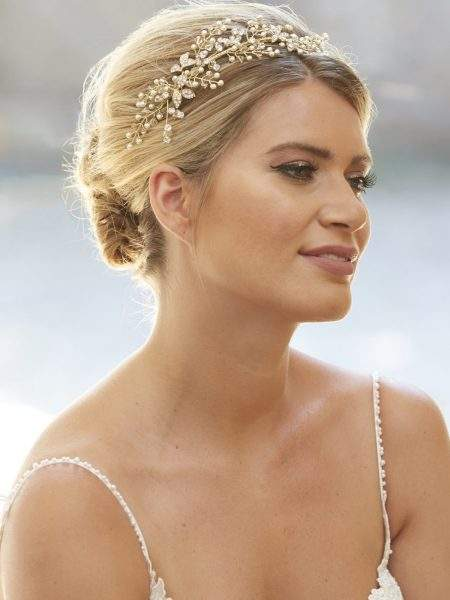 AR565 – side headband with pearl, crystal & diamante leaves