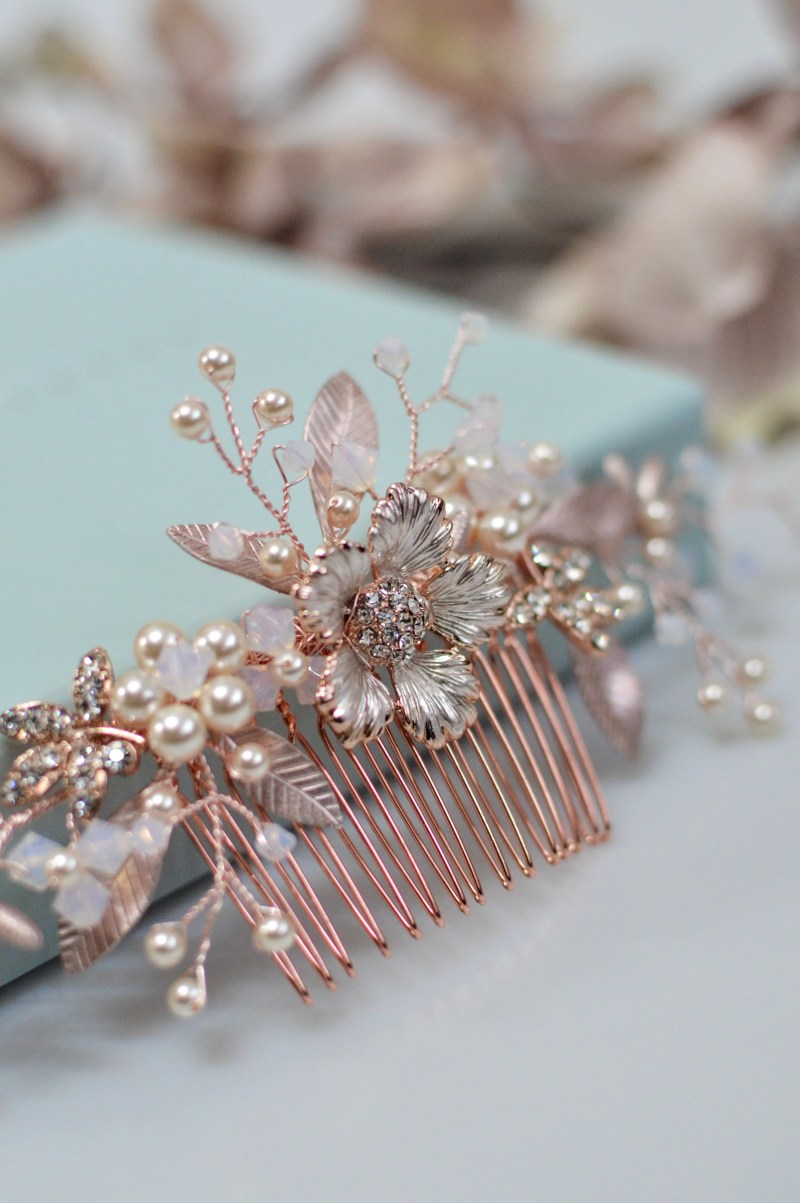 AR573 – rose gold, pearl & white opal bridal comb 3