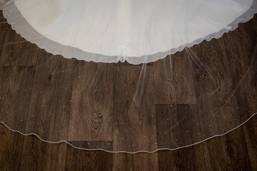 Alexandra - one layer chapel veil with rhinestone edge and diamantes falling stars detail