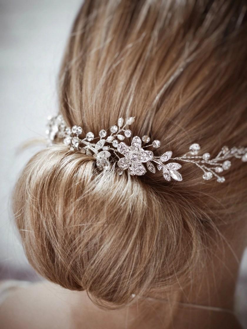 Dawn TLH3067 silver diamante and pearl bridal hair vine 30cm long on blonde bride hair up detail