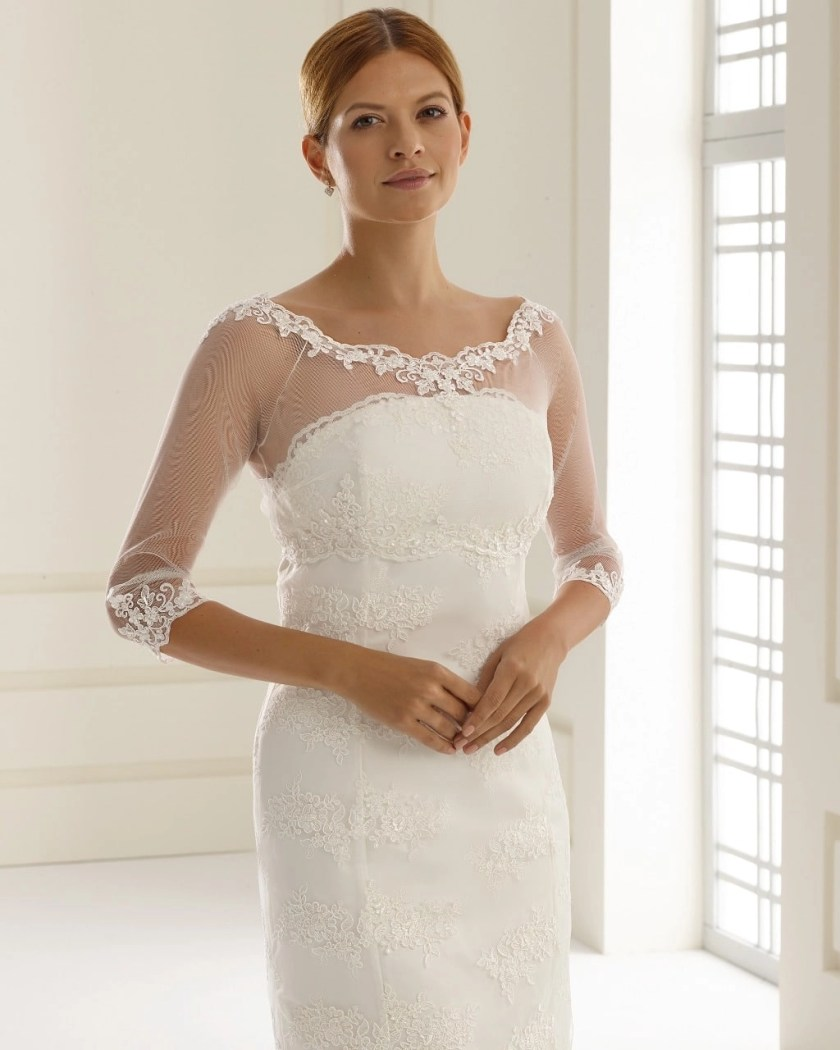 E150 BB150 lace and tulle bridal jacket button up back (1)