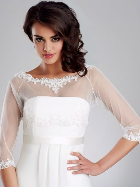 BB150 – stretchy tulle bridal coverup with beaded lace detailing & button up back