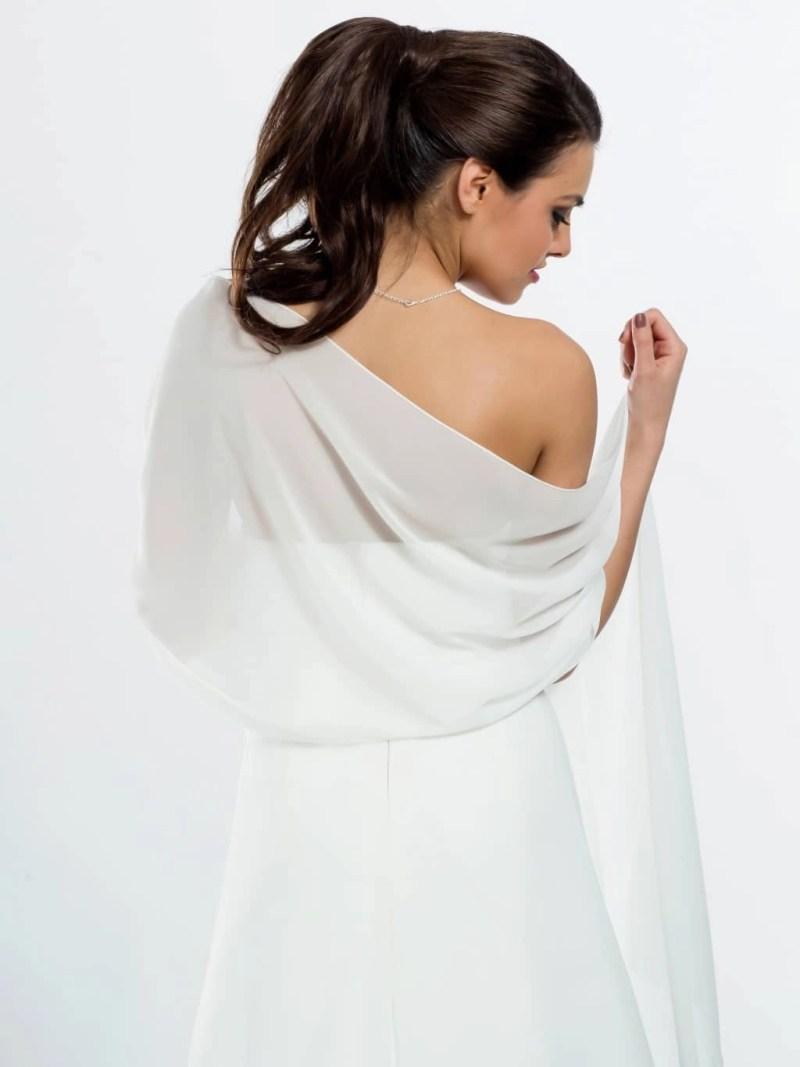 E9 BB9 simple chiffon bridal scarf shawl wrap shrug stole back