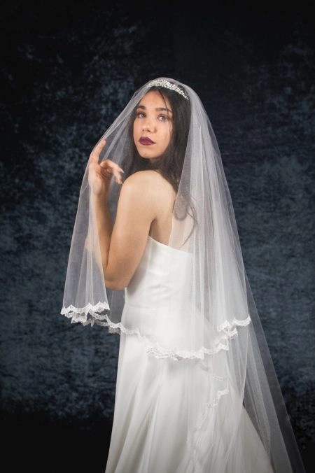 Lacey – two layer chapel length veil with a narrow lace edge (2)