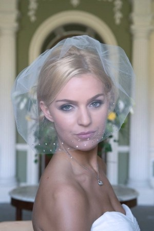 Bride wearing tulle and diamante birdcage veil
