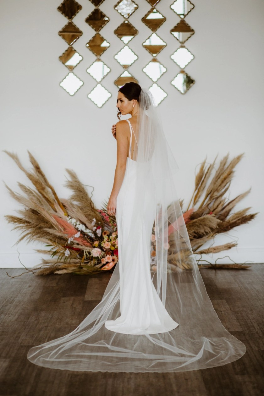 Nikki - two layer cathedral length veil with a simple edge finish