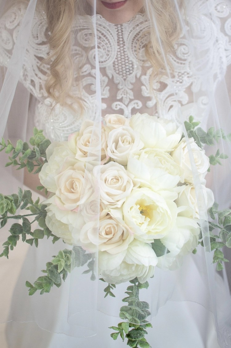 Paige - two layer chapel length plain wedding veil beautiful bridal portait with flowers