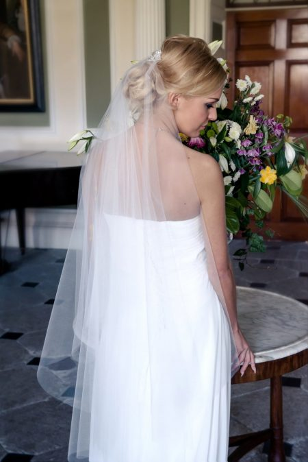 Quin – two layer fingertip length drop veil with lace comb ornament