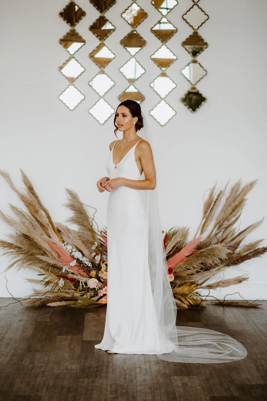 Skye - simple chapel length wedding veil (main)