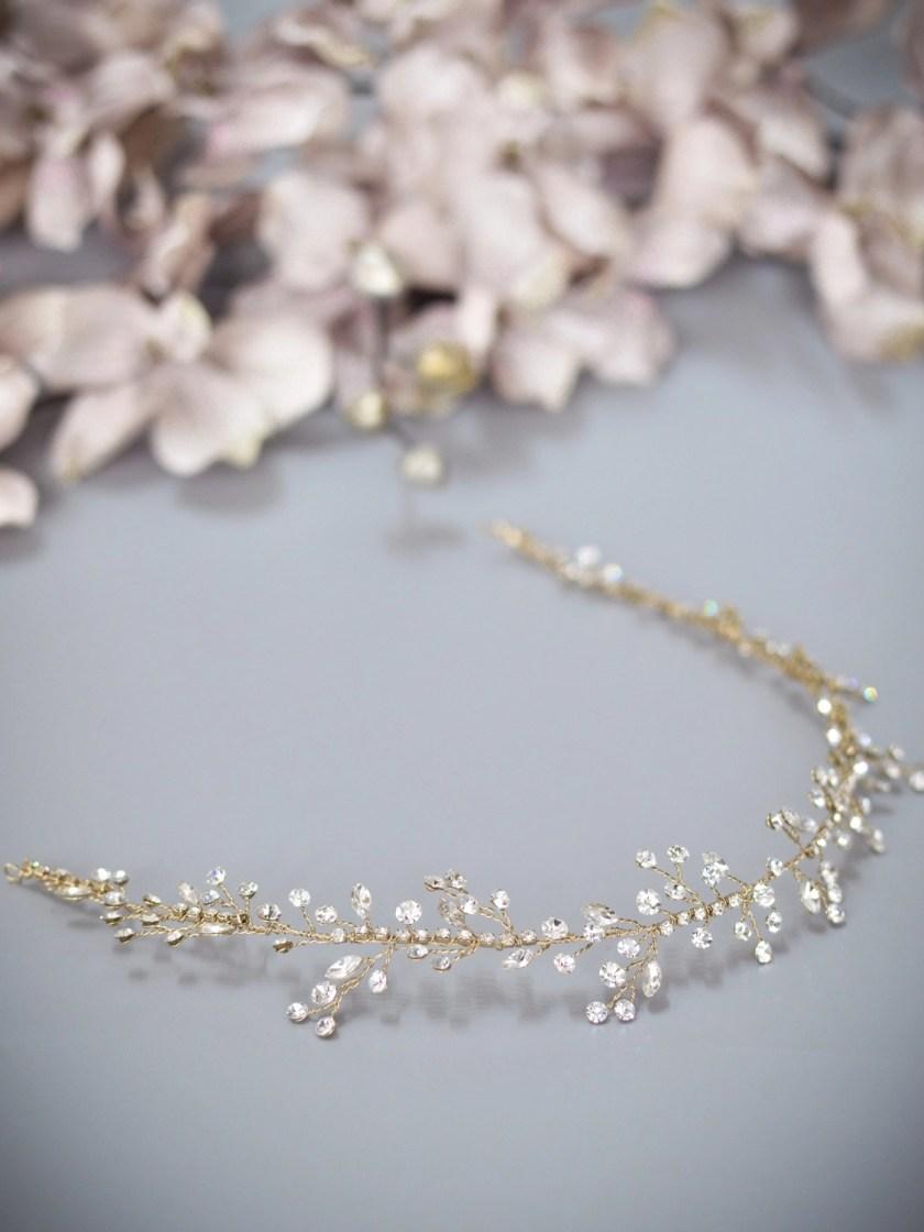 Sunrise TLH3079 gold diamante bridal hair vine 40cm long