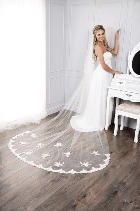 Tamara – two layer cathedral length veil with lace applique bottom