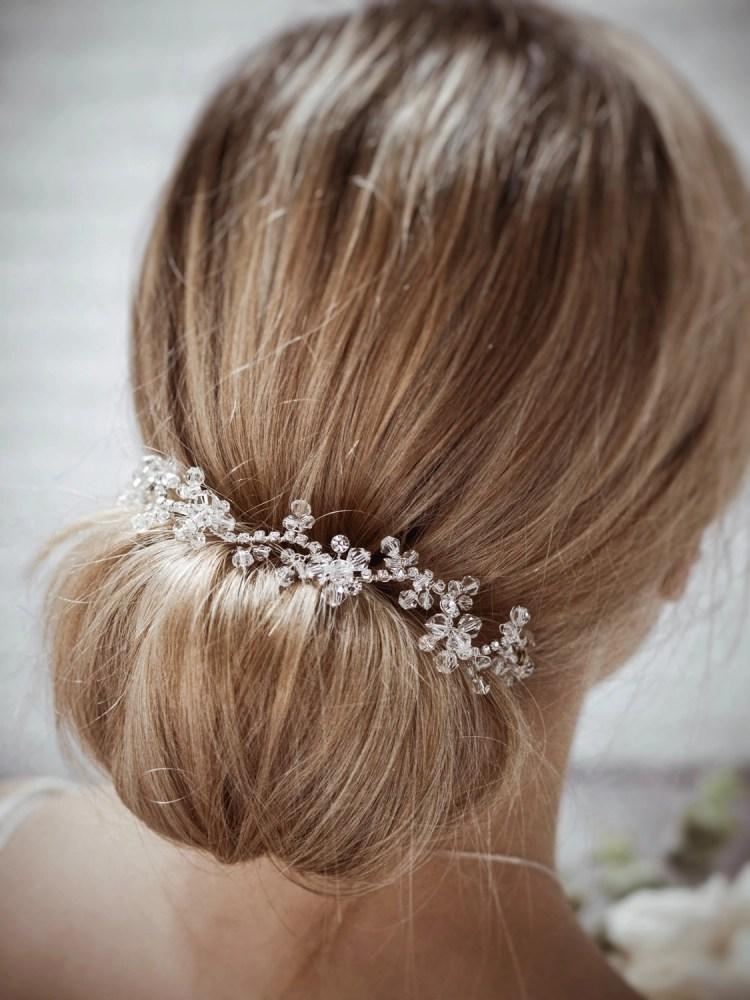 Twilight TLH3064 silver diamante and crystal bridal hair vine 30cm long on blonde bride hair up