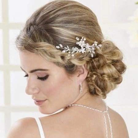 SALE! AR554 – hand wired diamante & pearl bridal hair comb
