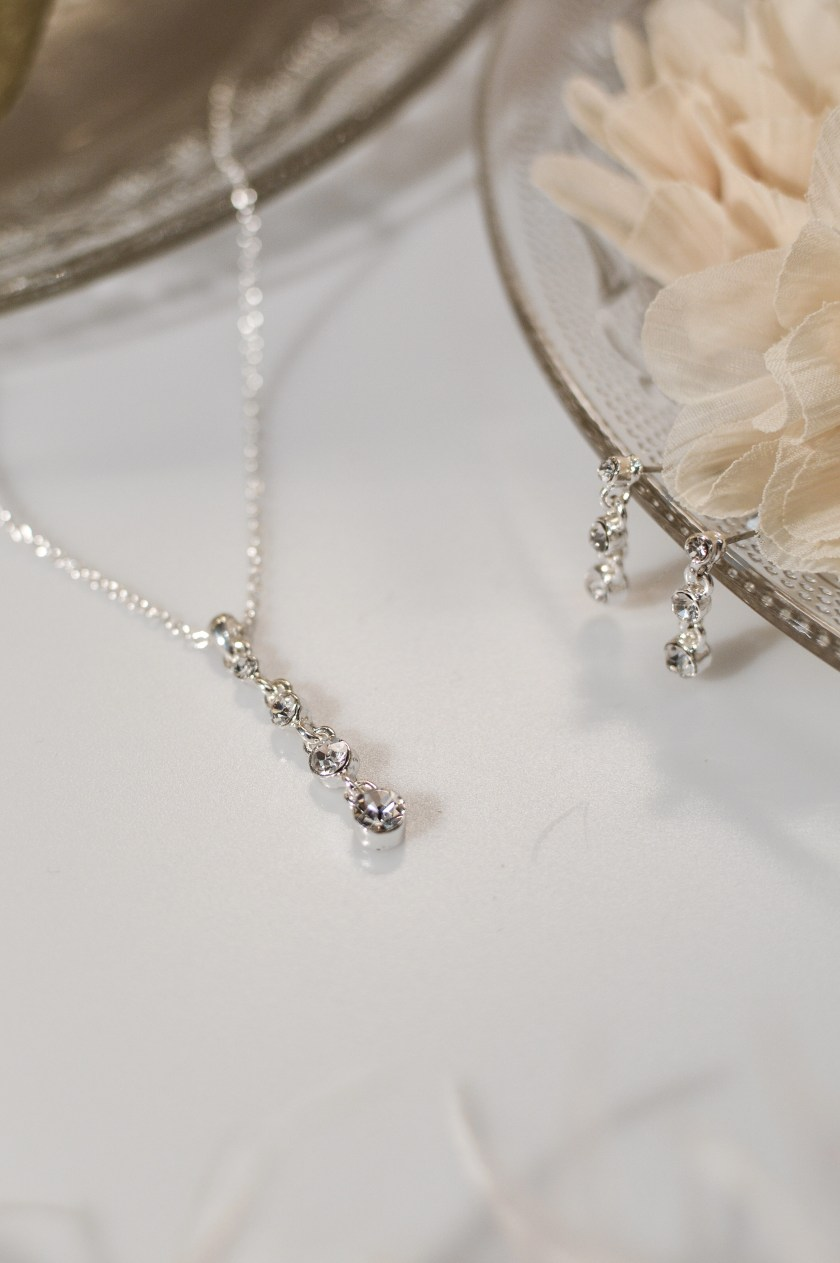 TLS1537 brides wedding day jewellery set ith long triple diamante drop and matching earrings