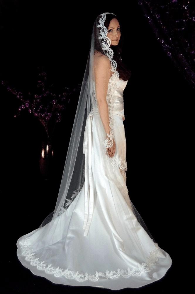 Floor length lace mantilla veil