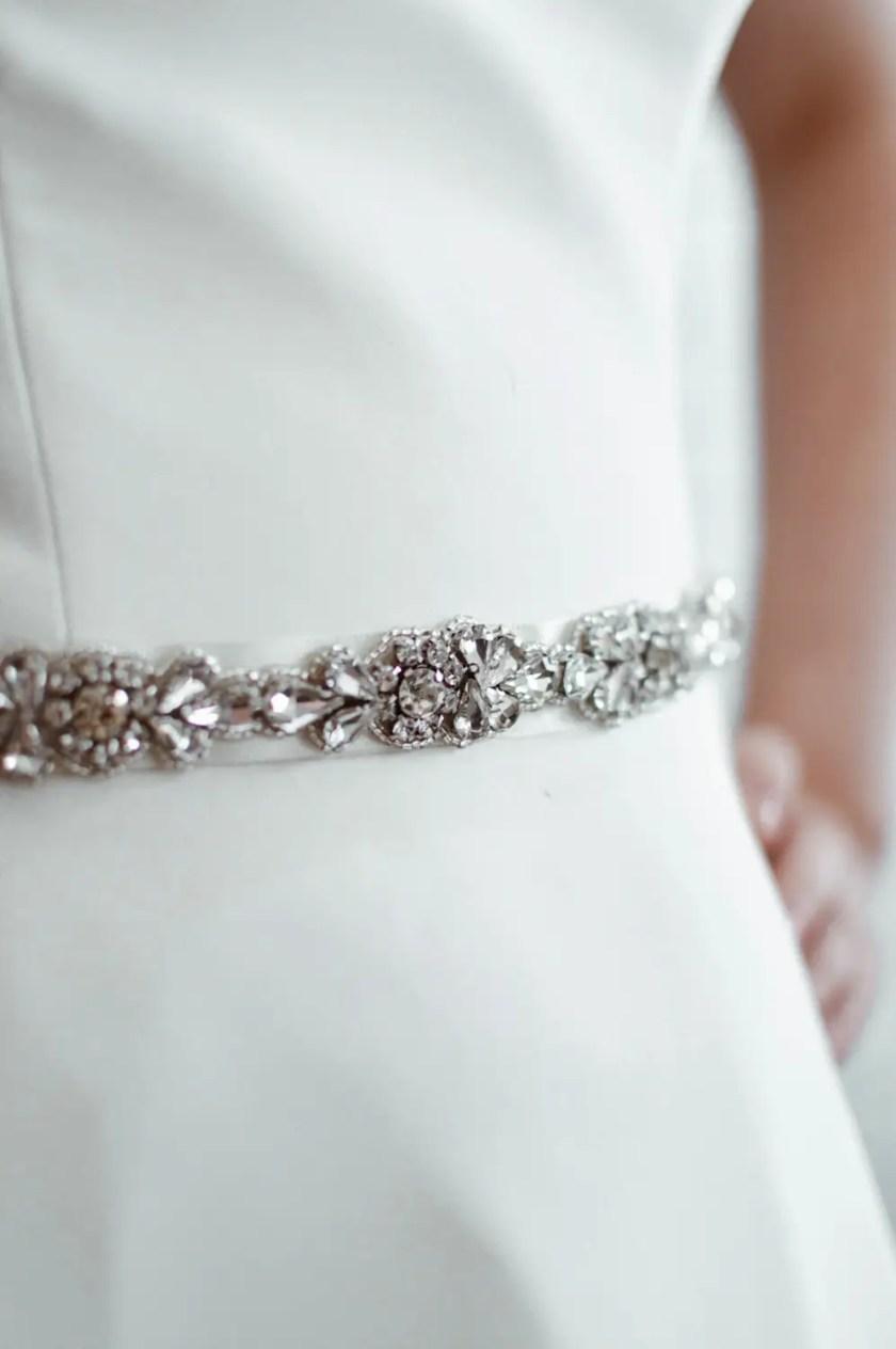PBB1001 – narrow diamante bridal belt on model 3