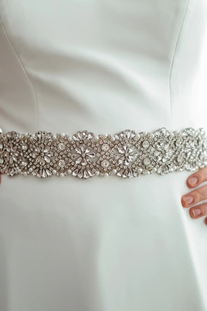 PBB1008 - wide sparkly bridal wedding dress belt on model 3