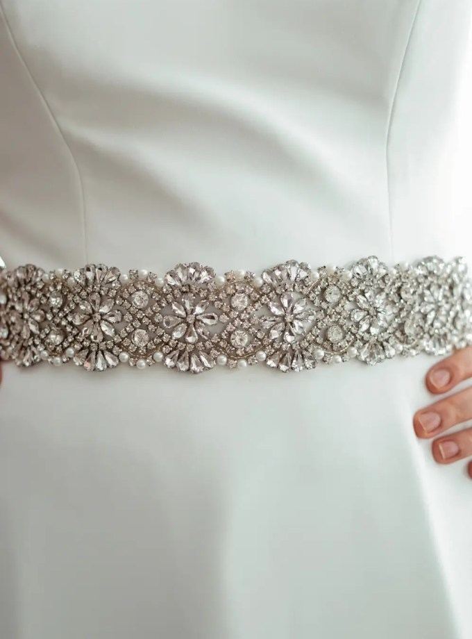PBB1008 - wide sparkly bridal wedding dress belt on model 3
