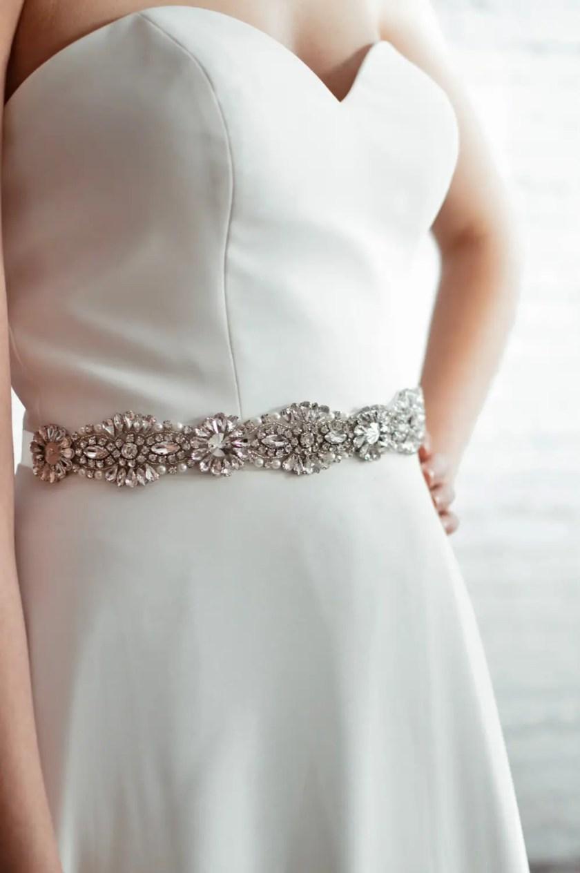 PBB1012 – diamante, pearl & seed bead bridal belt on model 2