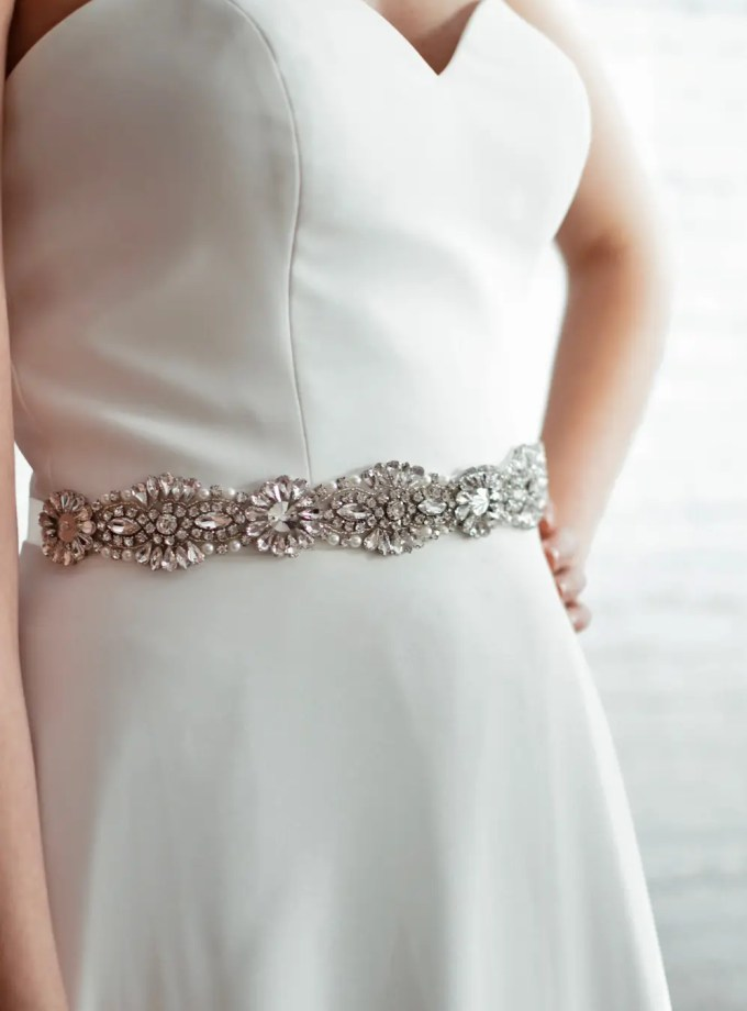 PBB1012 – diamante, pearl & seed bead bridal belt on model 2