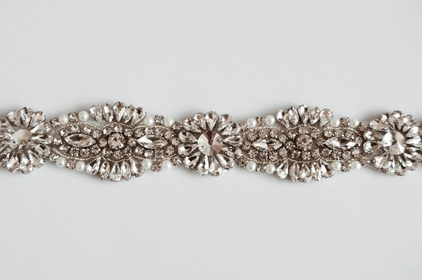PBB1012 – diamante, pearl & seed bead bridal belt on ribbon sash (5)
