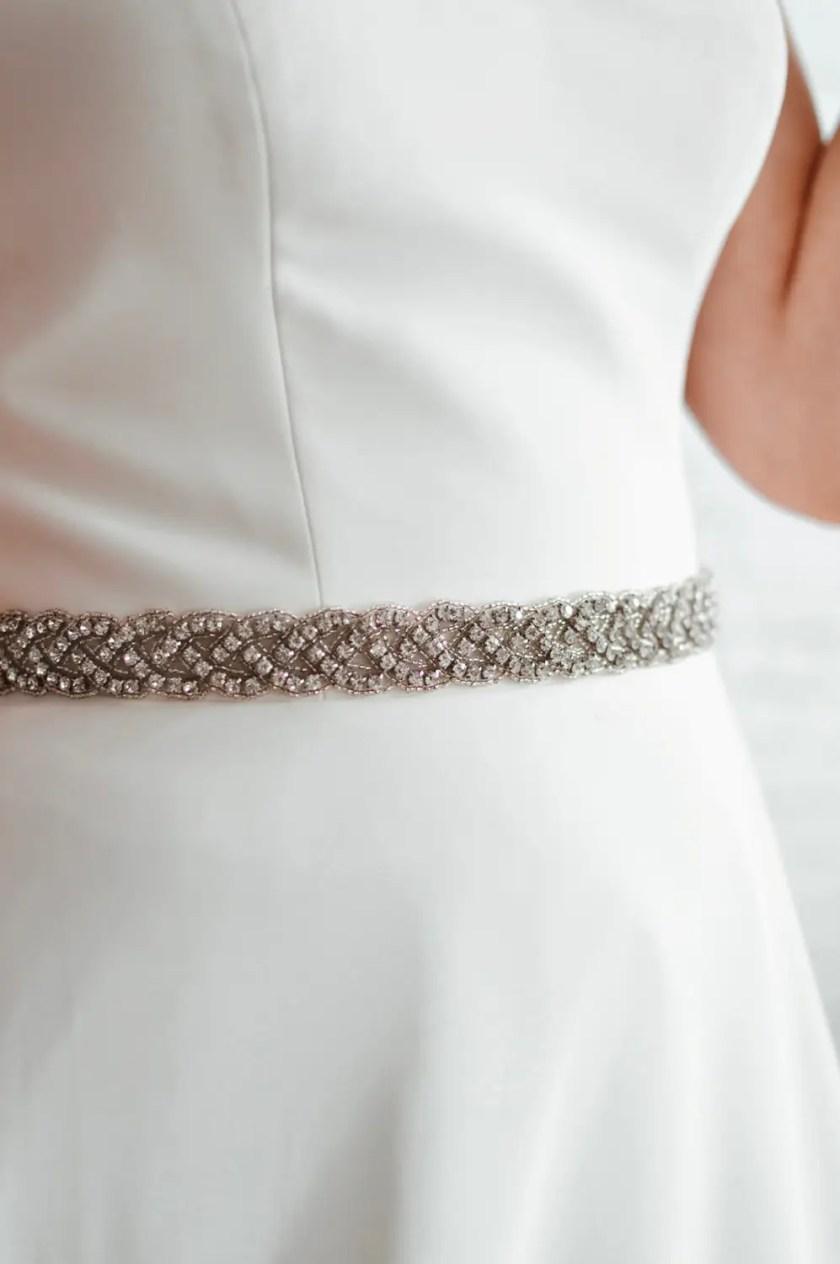 PBB1019 – plaited diamante bridal belt on model 1