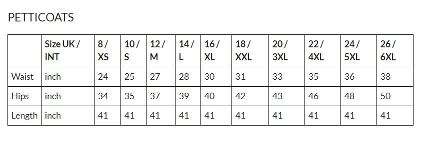 underskirts size chart