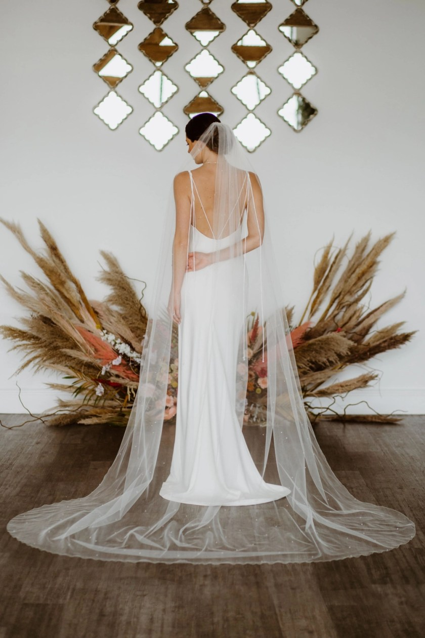 ALEXIS – one layer cathedral length veil with scattered pearls & crystals