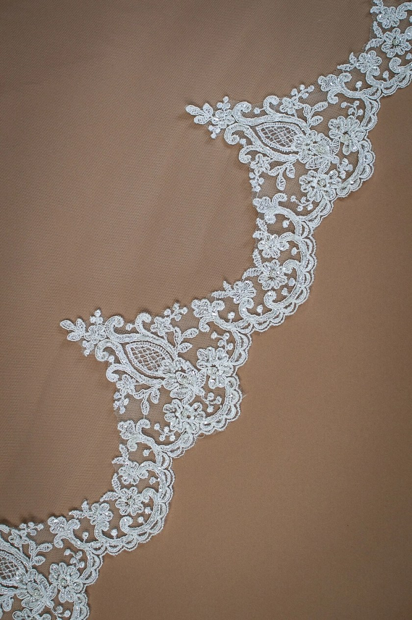 Aspen - two layer chapel length veil with sparkly lace to elbow level closeup on solid background (2)