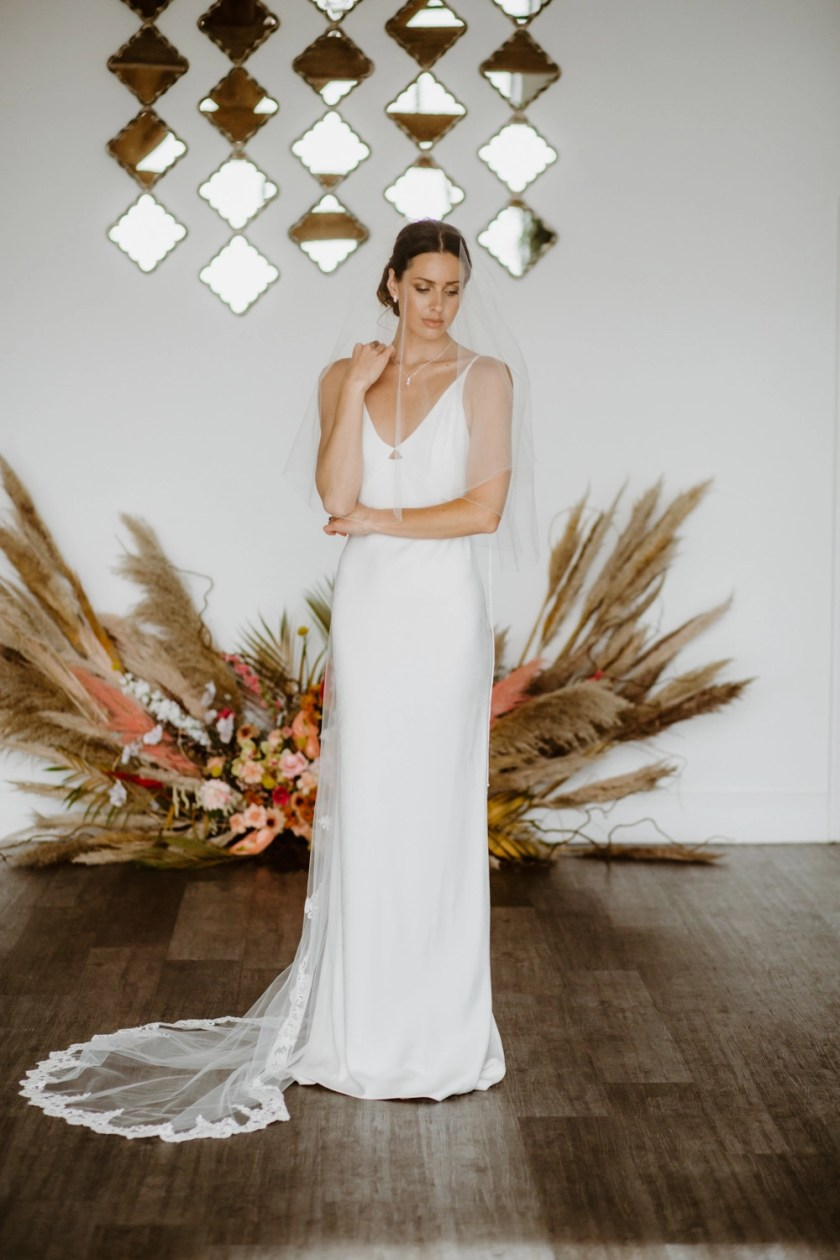 Aspen - two layer chapel length veil with sparkly lace to elbow level
