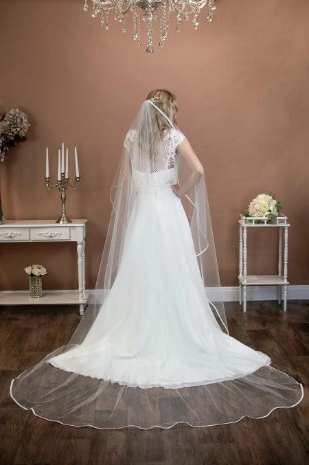 FREYA – one layer chapel length waterfall cut veil with a satin binding edge