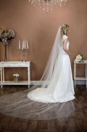 Jessica - extra long one layer cathedral length extra wide plain veil on a bride