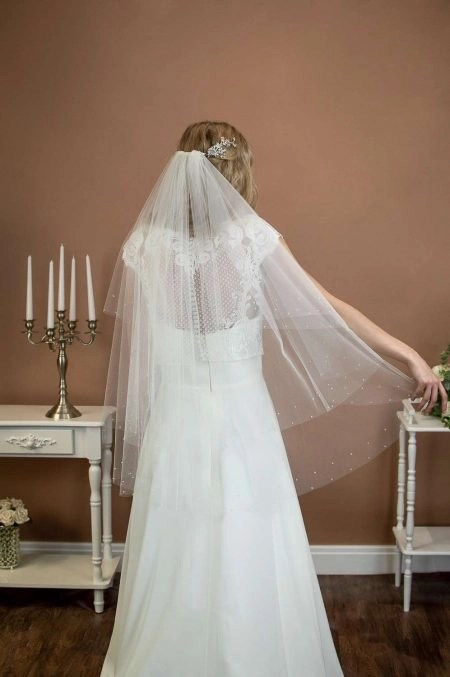 LARISSA – two layer hip length veil with a cut edge and a pearl & crystal border