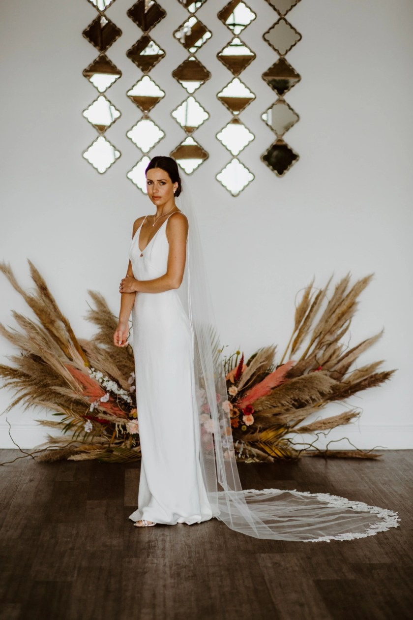 Scarlett – one layer cathedral veil with a sequined leaf lace