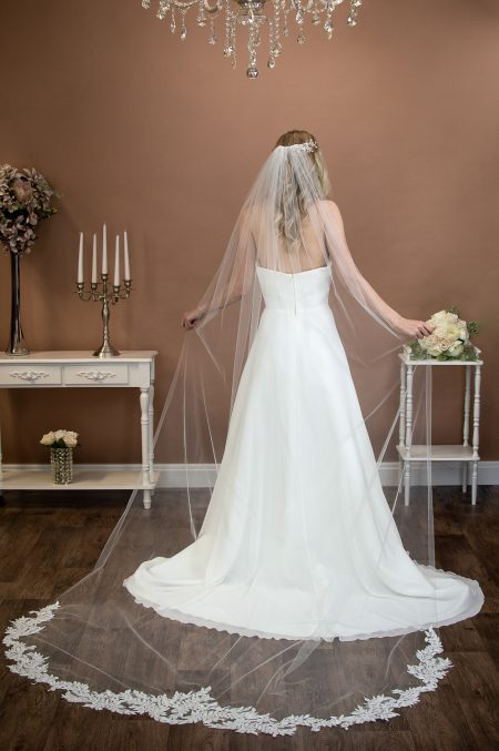 SCARLETT- one layer cathedral veil with a sequined leaf lace applique base